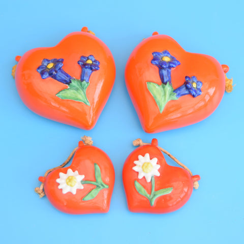 Vintage 1960s Swiss Heart Shaped Wall Planters / Ornaments - Orange