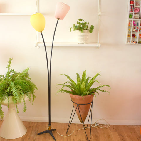 Vintage 1950s Metal Branch Floor Lamp - Plastic Ribbed Shades - Pink & Lemon Yellow