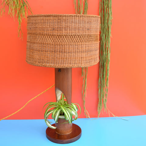Vintage 1950s unusual Bamboo Table Lamp / Planter