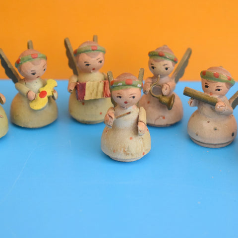 Vintage 1950s Erzgebirge German Wooden Angel Band