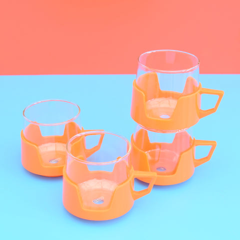 Vintage 1970s Drink-Up Glass Cups x 4 - Orange