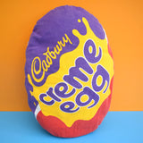 Vintage 1980s Cream Egg Cushion & Pad - Kitsch