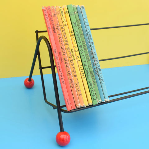 Vintage 1950s Atomic Ball Book Rack - Red & Black