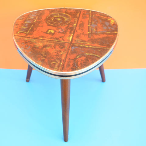 Vintage 1950s Patterned Formica Side Table - Beech Wood Legs and Formica Top