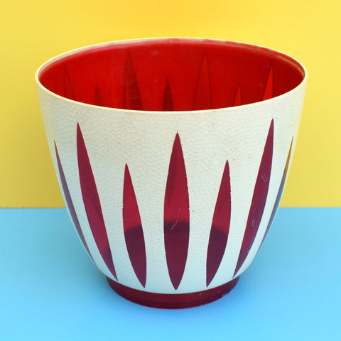 Vintage 1960s Dialene Plastic Plant Pot - Cathrineholm Lotus Style - Red & White