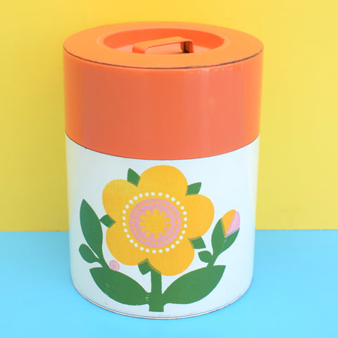 Vintage 1970s Metal Tin - Flower Design - Orange
