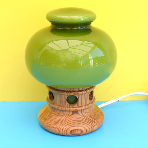 Vintage 1970s Swedish Glass & Wood Lamp - Olive Green
