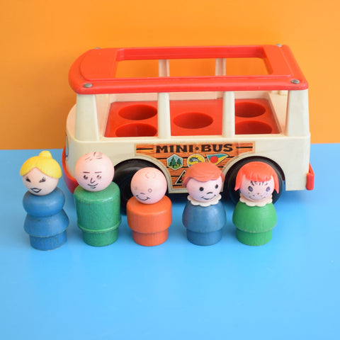 Vintage 1960s Plastic Fisher Price Mini Bus - Wooden People