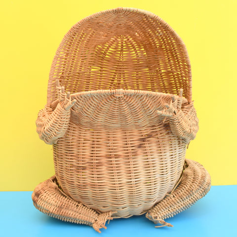 Vintage 1970s Kitsch Frog Shaped Bin / Storage - Glass Marble Eyes