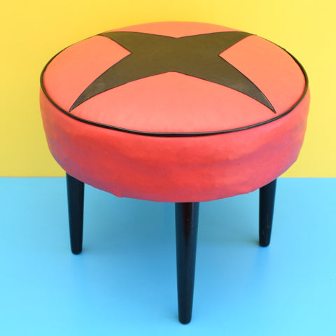 Vintage 1960s Round Footstool / Pouffe - Black & Red Star Design