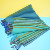 Vintage 1960s Swedish Picnic Blanket / Throw - Turquoise Blue / Green