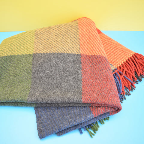 Vintage 1960s Swedish Blanket / Throw - Navy & Multi coloured