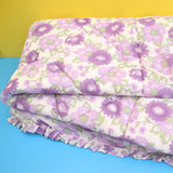 Vintage 1960s Eiderdown / Throw - Flower Power Purple Or Yellow
