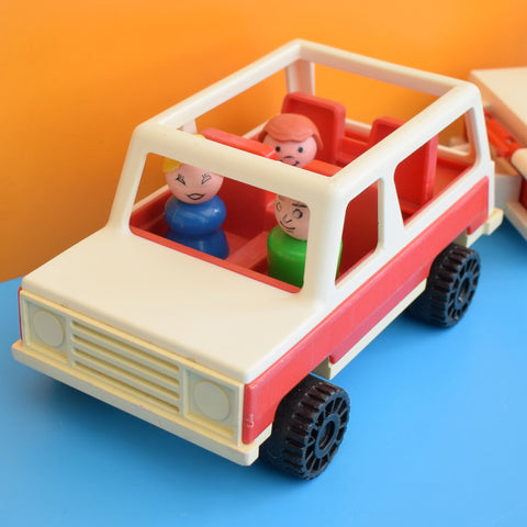 Vintage 1970s Plastic Fisher Price Car & Trailer