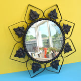 Vintage 1950s Round Flower Mirror - Black