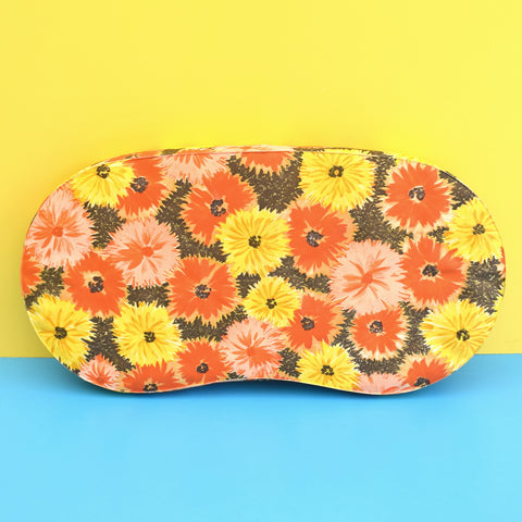 Vintage 1960s Vinyl Garden Kneeling Cushion - Flower Power, Orange