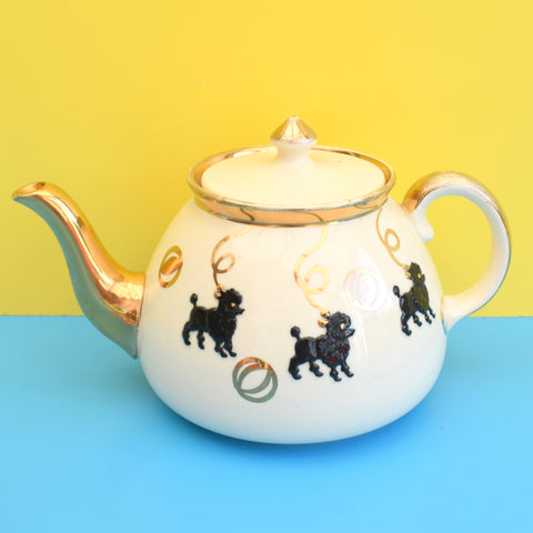 Vintage 1950s Tea Pot - Poodle Design For Display - Black & Cream