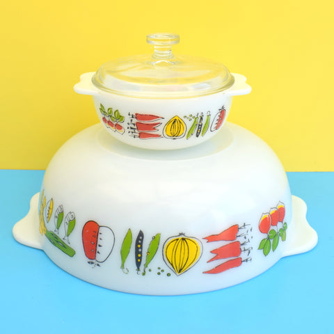 Vintage 1960s Pyrex Medium Serving Bowl & Mini Dish With Lid - Harvest Pattern