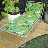 Vintage 1970s Garden Folding Sun Lounger / Chair - Green Flower Power