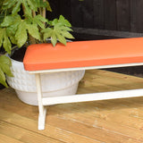 Vintage 1960s Vinyl Bench Stool - Ideal Outside For Summer - Orange & Cream (Pair Available)
