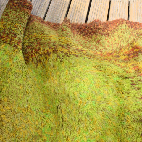 Vintage 1970s Large Shag Pile Rug - Green / Brown Shades