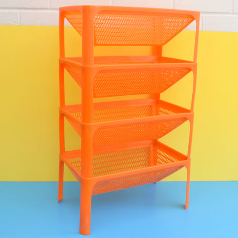Vintage 1970s Plastic Storage / Vegetable Rack - Laricol - Orange