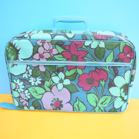 Vintage 1960s Suitcases, Blue, Green & Purple Flowers
