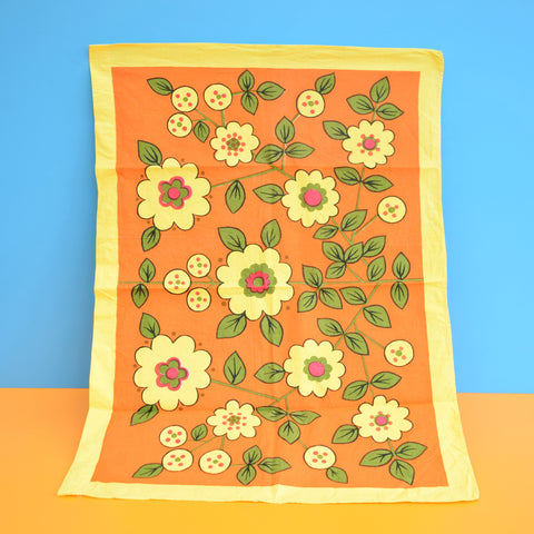 Vintage 1960s Cotton Tea Towel - Flower Power - Orange & Yellow
