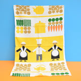 Vintage 1960s Cotton Tea Towel - Chef & Vegetables - Yellow & Orange