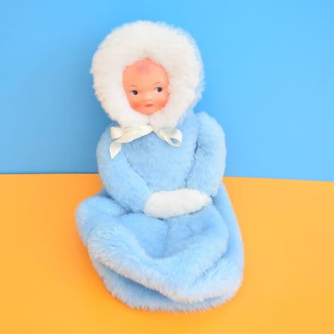 Vintage 1960s Kitsch Doll Nightie Case - Fur Blue