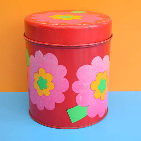 Vintage 1970s Laurids Lonborg Flower Power Tin - Pink
