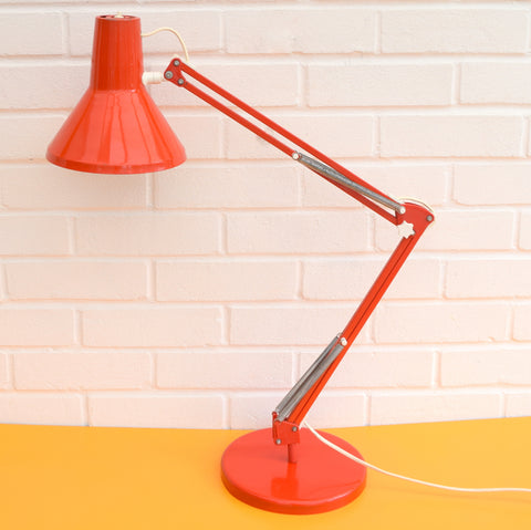 Vintage 1970s Angle poise Desk Lamp - HCF Danish - Tomato Red
