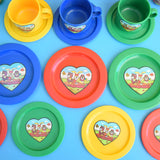 Vintage 1980s Plastic Dolls Tea Set - Kitsch Animal Picnic - Yellow, Red & Blue, Green
