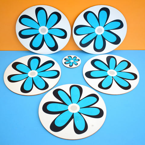 Vintage 1970s Round Placemat Sets - Blue Flower Design