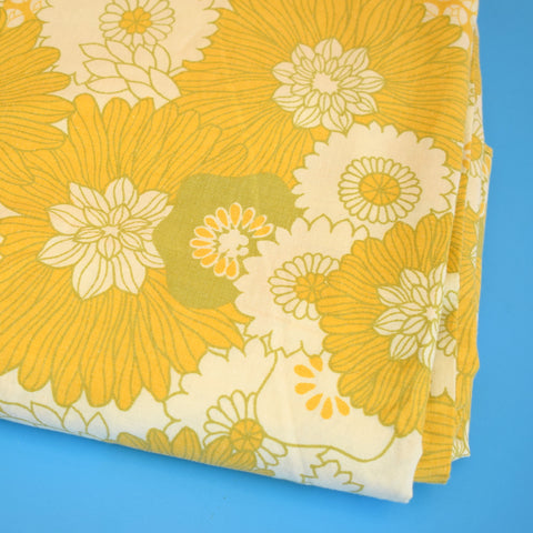 Vintage 1960s Single Duvet Set - Flower Power - Mustard / Olive