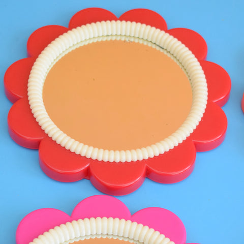 Vintage 1970s Mirrors - Flower Shaped Plastic