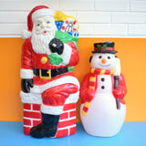 Vintage 1980s Mould Blown Santa / Snowman Lights
