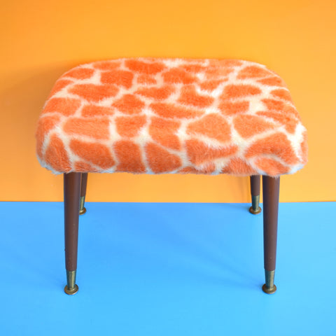 Vintage 1960s Rectangular Fluffy Stool - Orange Giraffe Print