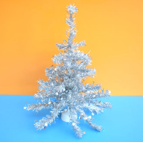 Vintage 1980s Small Tinsel Christmas Tree - Silver