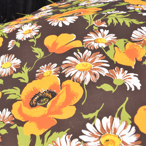 Vintage 1960s Large Folding Garden Parasol - Flower Power Poppies & Daisies - Orange, Green & Brown With Fringe