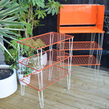 Vintage 1970s Folding Camping Stand Table - VW Camper Van, Glamping - Orange & White