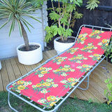 Vintage 1970s Garden Sun Lounger - Red & Yellow Rose Flower Power