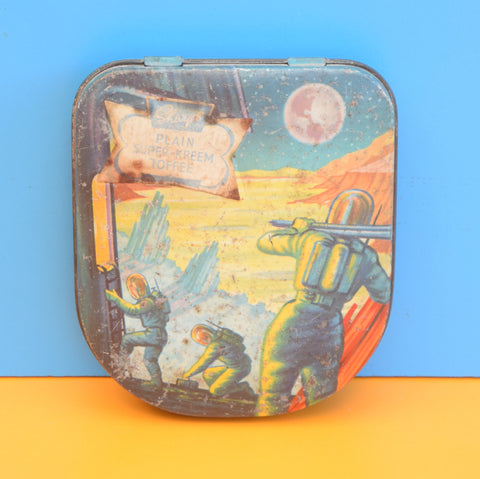 Vintage 1960s Sharps Toffee Tin - Space Man