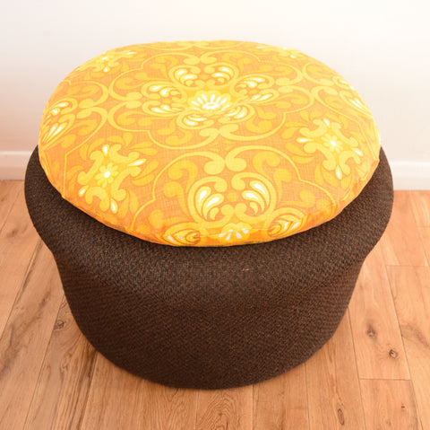 Vintage 1970s Footstool / Table - Brown & Orange