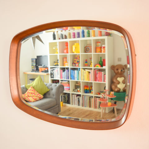 Vintage 1960s Bevelled Teak Mirror - High Quality