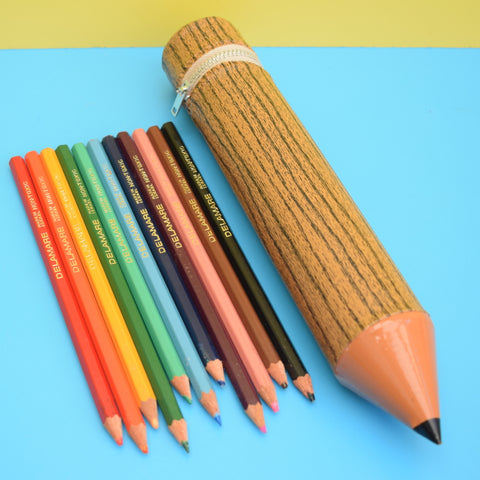 Vintage 1970s Vinyl Pencil Shaped Pencil Case & Original Rainbow Of Pencils