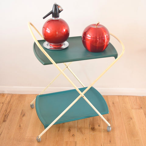 Vintage 1970s Plastic Oojamaflip Trolley - Drinks Bar / Side Unit - Turquoise