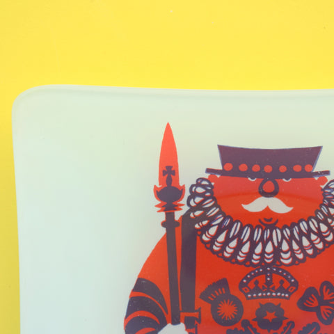 Vintage 1960s Chance Glass Pin Dish - Beefeater - Kenneth Townsend - Boxed .