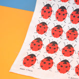 Vintage 1980s Cotton Tea Towel - Ladybird - Red