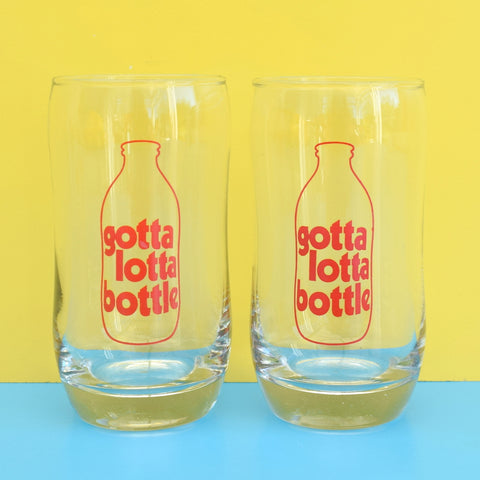 Vintage 1970s Milk Glasses x 2- Gotta Lotta Bottle